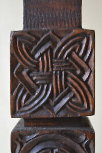 Vintage Celtic Knot Wooden Lamp Base (non-wired) Hand Carved Folk Art Retro 36cm