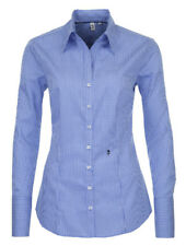 Seidensticker Bluse blau weiß kariert Schwarze Rose bügelfrei Gr. 44 Slim Line