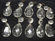 10 Vintage Faceted Glass Tear Drops For Ornaments or Lamps