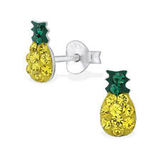 Childrens Kids Girls 925 Sterling Silver Pineapple Ear Studs with Crystal-Boxed