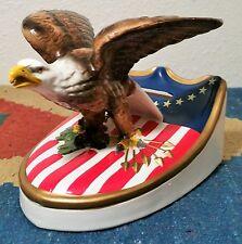 OL CUMBERLAND COUNTY national bank vtg composition coin bank american eagle flag