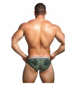MARCUSE MENS Dragon Swimming briefs trunks Nylon Size M 32-34'' 81-86cm Beige
