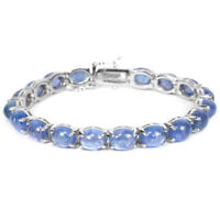 NATURAL BLUE TANZANITE 9X7 MM. OVAL CABOCHON STERLING 925 SILVER BRACELET 7.5