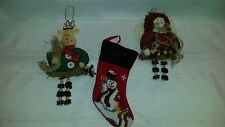 3 CUTE COUNTRY CHRISTMAS ORNAMENTS - ANGEL - REINDEER - STOCKING - BUTTONS
