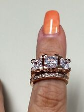 Victoria Wieck 925 Sterling Silver Rose Gold Clad CZ Ring Set Size 8