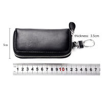 Cowhide Leather Car Remote Key Holder Home Key Chain Organizer Zipper Case New