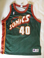Champion Authentic Shawn Kemp Seattle SuperSonics jersey s 48 XL Vintage Sonics