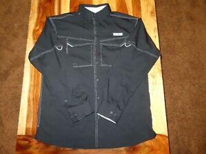 Columbia Black Long Sleeve PFG Vented Fishing Shirt Omni-Shade - Men's Medium