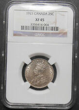 1921 Twenty-Five Cents NGC EF-45 * HIGH Grade SCARCE George V KEY Canada Quarter