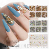 Nail Art Rhinestones Mixed Size Glass Flatback AB Crystal Manicure Gems 3D D0R4