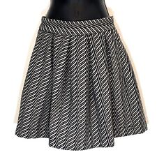 STORM & MARIE 36 skirt black white stripe wool blend pleated mini ALAIA New S