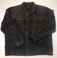 Marithe Francois Girbaud Mens Distressed Denim Jacket Size XXXL Espresso Brown