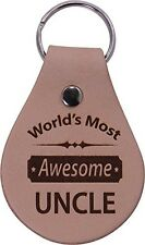 World's Most Awesome Uncle Leather Key Chain - Great Gift for Birthday, or Ch...
