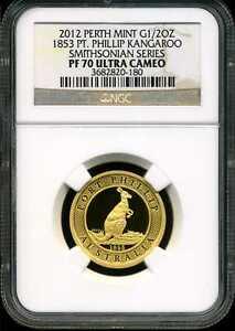 Australia 2012 Perth Mint Proof Gold 1/2oz Kangaroo PF70UCAM NGC 3682820-180