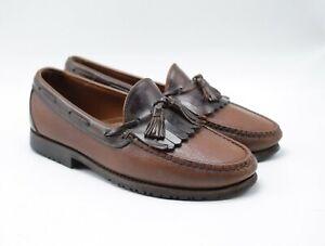 Allen Edmonds NASHUA Brown Grained Leather Kiltie Tassel Loafers sz 9 EEE