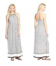 DEX Bohemian Printed Maxi Dress, Beaded Halter Neck, Size M, New $128