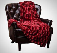 Chanasya Super Soft Cozy Sherpa Fuzzy Fur Warm Maroon Red Throw Blanket - Box