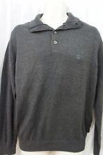 IZOD Men's Sweater Sz M Heather Black Essentials Knit Casual Henley Polo
