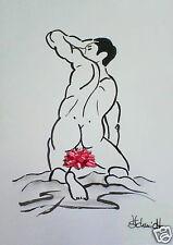 H.Schmidt Akt Erotik Mann*Matthias*strichzeichnung man nackt gay schwul Aquarell