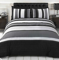 Duvet Set Detroit Black & Grey Stripe. Single Double or King Size