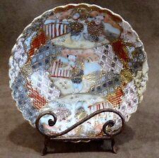 "Japanese Satsuma Pottery Bowl 5 3/8"" Gold Accent/trim"