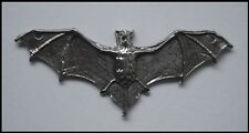 PEWTER CHARM #1541 BAT flying wings out (58mm x 25mm) 2 holes for necklace make