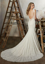 Morilee 8104 Macy Bridal Wedding Dress Lace Fit Flare Fitted Cap Sleeve Low Back