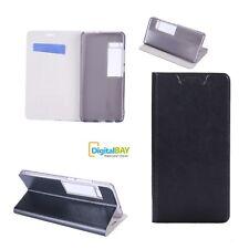 Custodia Cover Horizontal Flip Case Libro Eco Pelle Nero Per Meizu Pro 7 Plus
