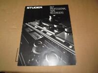 Vintage Original Studer B67 Professional Tape Recorders Brochure Specs