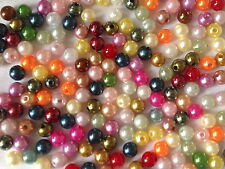 200  MULTI COLOUR ROUND PLASTIC JEWELLERY MAKING BEADS  CRAFTS  8mm AB0165