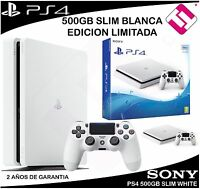 VIDEOCONSOLA SONY PS4 PLAYSTATION 4 500GB SLIM BLANCA EDICION LIMITADA ESPECIAL