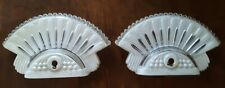 """Art Deco 1930s 1940s Pair of Glass Sconces Light Covers 8"""" height x 5"""" wide"""