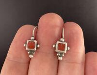 Vintage Sterling Silver Coral Earrings Ornate Studded Hook Pierced
