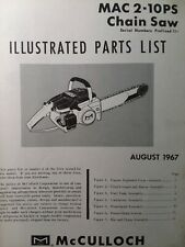 Mcculloch Chain Saw Mac 2 10ps Master Parts Manual 2 Cycle Gasoline Chainsaw