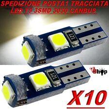 10 LAMPADE T5 3 LED 3030 SMD CANBUS NO ERROR QUADRO STRUMENTI CRUSCOTTO BIANCO