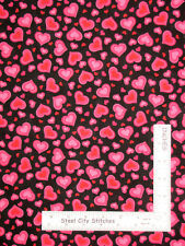 Valentine's Day Love Hearts Pink Red Black Cotton Fabric Traditions By The Yard