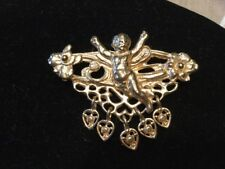 Vintage Cherub Angel Gold Tone Pin Brooch With Hearts