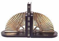 Sarreid Ltd Mid-Century Vintage Brass Fan Bookends Black Lacquer Base From Spain