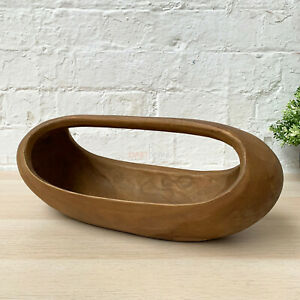 Vintage Teak Root Wood Hand Carved Smooth Long Trug Food Fruit Serving Bowl 40cm
