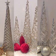 Deko-Kegel Dekobaum PYRAMIDE -60cm Metall Weihnachts-Deko weiß gold Glimmer