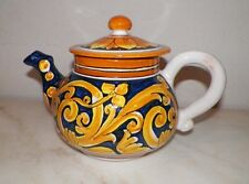 ITALY ITALIAN CERAMIC POTTERY TEA POT BLUE & YELLOW