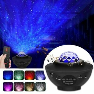 UK Galaxy Star Night Lamp LED Starry Night Light Ocean Wave Projector With Music
