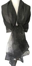 Grey Pashmina Wrap Ladies Charcoal Sparkly Silk Blend Shawl Scarf Nearly Black