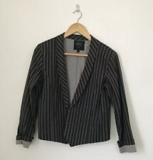 Swildens Women Jacket Size 2 (uk 12) Black & Grey Pinstripe Blazer Cotton Lined