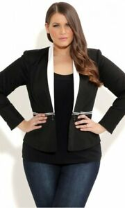 CITY CHIC, SMALL, BLACK WITH WHITE LAPEL, ZIP CONTRAST JACKET