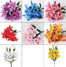 Best Artificial 45cm Stargazer Lillies 10 Head Flower Spray Bunch lily decor new