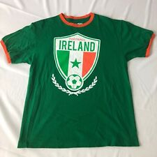IRELAND FOOTBALL Fifth Sun ringer T-Shirt SIZE LARGE L green orange white EUC
