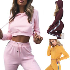 Mujer Chándal Con Capucha Sudadera Verano Top Corto Pantalones Ropa Deportiva
