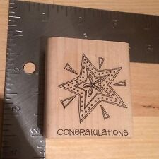 New Congratularons Shining Star Woodblock Rubber Stamp - Unused Crafting Crafts