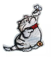 "Cat Patch Kitten Butterfly Embroidered Iron On Applique 2.48"" X 2.28"" Animals"